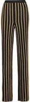 Balmain Metallic Ponte-Knit Wide-Leg Pants