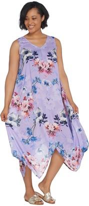 Tolani Collection Printed Asymmetric Hem Woven Dress