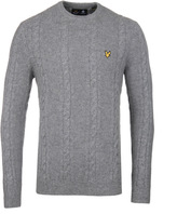 Lyle & Scott Mid Grey Marl Cable Knit Lambswool Sweater