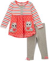 Nannette Orange & Gray Owl Tunic & Leggings - Girls