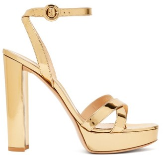 Gianvito Rossi Poppy 100 Metallic-leather Platform Sandals - Gold