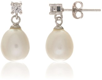 Auree Jewellery Drayton White Pearl & Cubic Zirconia Sterling Silver Oval Drop Earrings