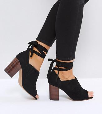 Asos Design OMEN Wide Fit Tie Leg Heeled Shoes