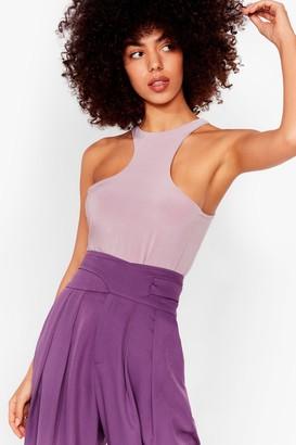 Nasty Gal Womens Life in the Fast Lane Slinky Racerback Bodysuit - Purple - 4