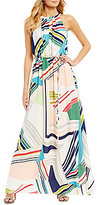 Adrianna Papell Printed Striped Maze Halter Maxi Dress