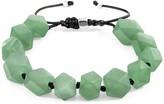 Anchor & Crew Green Jade Zebedee Silver & Stone Beaded Macrame Bracelet