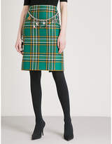 Balenciaga Belt-detail tartan high-rise wool skirt