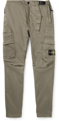 Stone Island Slim-Fit Tapered Stretch Cotton-Blend Cargo Trousers