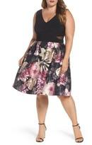 Xscape Evenings Plus Size Women's Jersey Floral Party Dress