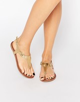 Aldo Ashley Gold Ankle Fastener Thong Sandals