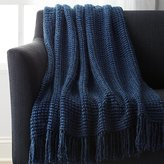 Crate & Barrel Landyn Blue Chunky Knit Throw