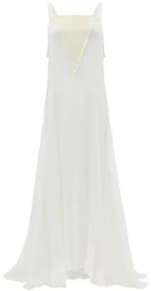 ALBUS LUMEN Bow-back Silk Plisse-chiffon Gown - White