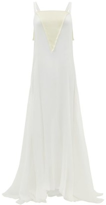 ALBUS LUMEN Bow-back Silk Plisse-chiffon Gown - Womens - White