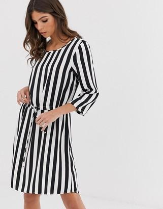 Vero Moda stripe dress with 3/4 sleeves-Multi