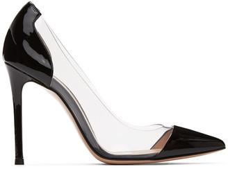 Gianvito Rossi Black Patent Plexi 105 Heels
