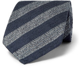 Dunhill 8cm Striped Mulberry Silk Tie - Blue