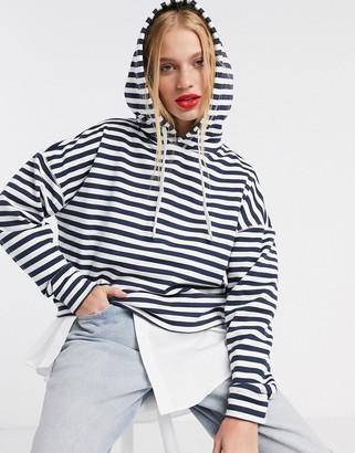 Tommy Jeans striped hooded sweatshirt in blue multi