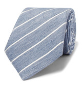 Canali - 8cm Striped Slub Linen And Silk-blend Tie