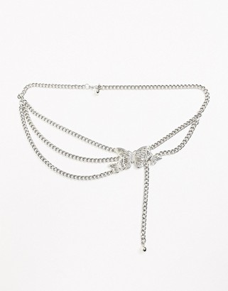 ASOS DESIGN butterfly and rhinestone chain waist and hip belt in silver
