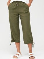 Very Linen Mix Crop Trouser - Khaki
