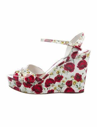 Dolce & Gabbana Patent Leather Floral Print Sandals