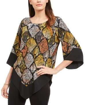 Alfani Border-Trim V-Hem Top, Created for Macy's