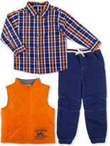 Nannette 3-Pc. Plaid Shirt, Vest and Denim Pants Set, Little Boys (4-7)