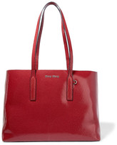 Miu Miu Cracked Glossed-leather Tote - Red