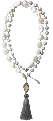 Farra White & Gray Freshwater Pearls Multi-Way Tassel Necklace