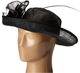 San Diego Hat Company DRS1002 Straw Kettle Brim Dress/Derby Hat with Feathered Floral Detail Dress Hats