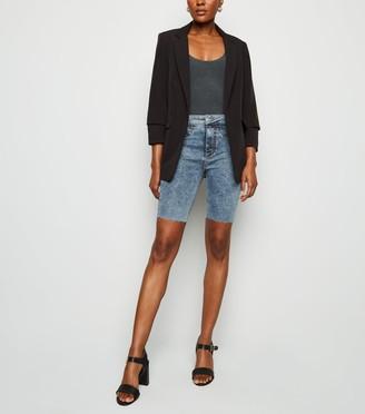 New Look Bright Acid Wash Denim Knee Shorts