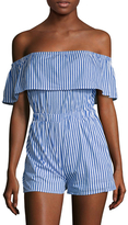 Lucca Couture Striped Off The Shoulder Romper