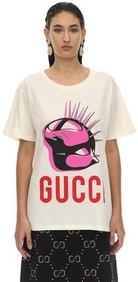 Gucci MASK PRINT COTTON JERSEY T-SHIRT