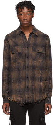 Amiri Brown Cracked Plaid Flannel Shirt
