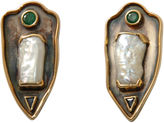 One Kings Lane Vintage 14K Gold & Natural Pearl Crest Earrings