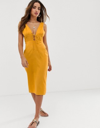ASOS DESIGN tie shoulder plunge midi sundress with shirred waist