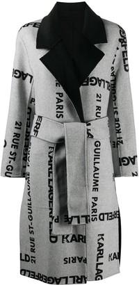 Karl Lagerfeld Paris Logo Print Reversible Coat