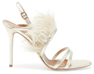 Malone Souliers Sonia Feather-trimmed Metallic-leather Sandals - Womens - Silver