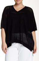 Joan Vass V-Neck Linen Blend Sweater (Plus Size)