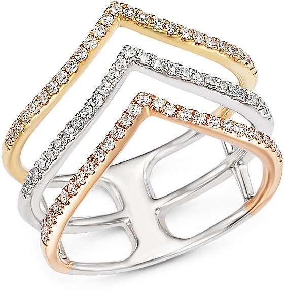 Bloomingdale's Diamond Triple Row Ring in 14K White, Yellow and Rose Gold, .40 ct. t.w.