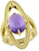 Catherine Malandrino Amethyst Cocktail Ring In 18k Yellow Gold Plated Sterling Silver.