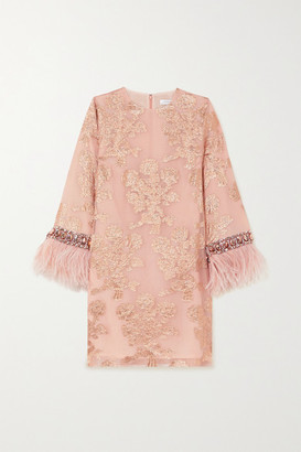Andrew Gn Feather-trimmed Embellished Metallic Fil Coupe Silk-blend Mini Dress - Blush