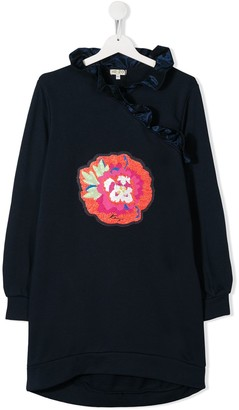 Kenzo Ruffled Flower-Patch Dress