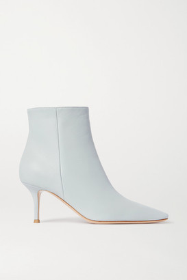 Gianvito Rossi 70 Leather Ankle Boots - Light blue