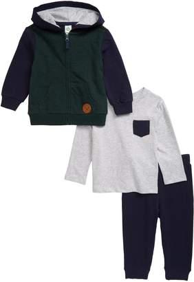 Little Me Colorblock Pocket T-Shirt, Zip Hoodie & Sweatpants Set