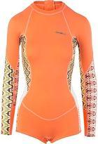 O'Neill Skins Surf Suit - Long-Sleeve - Women's Light Grapefruit/Bahia/White 4
