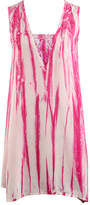 Cheerful Rose Tie-Dye Lace-Accent Cover-Up Sundress
