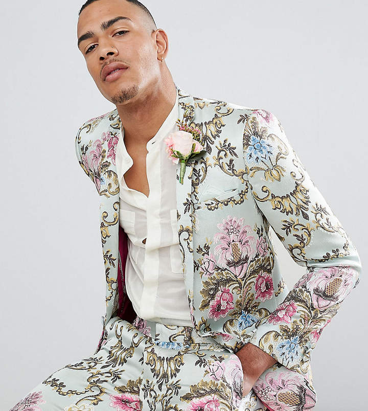Asos Edition EDITION Tall wedding skinny suit jacket in pastel floral jacquard