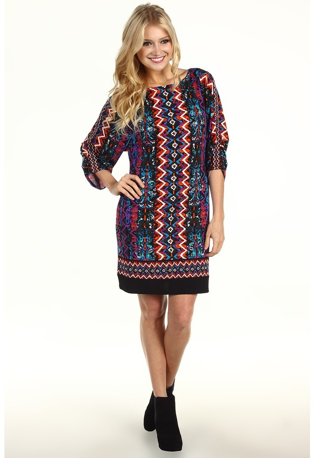 Laundry by Shelli Segal Tucked Sleeve Border Print Dress (Blue Jewel) - Apparel
