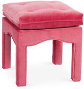 One Kings Lane Julien Tufted Ottoman - Flamingo Velvet - flamingo pink